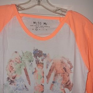 Miss Me Tops - NEW🎀[Miss Me]coral union jack 3/4 raglan